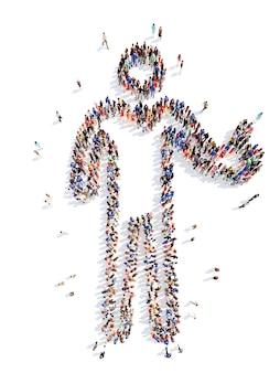 Un folto gruppo di persone sotto forma di un uomo nello sport isolato su bianco