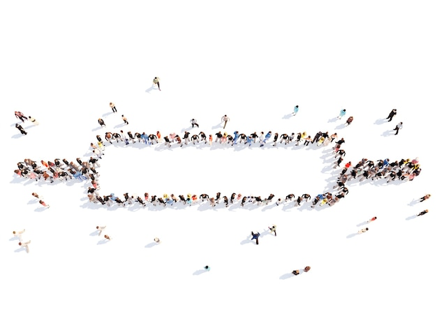 Folto gruppo di persone sotto forma di un mattarello sfondo bianco isolato