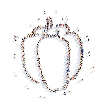 Grande gruppo di persone sotto forma di peperone dolce. isolato, sfondo bianco.