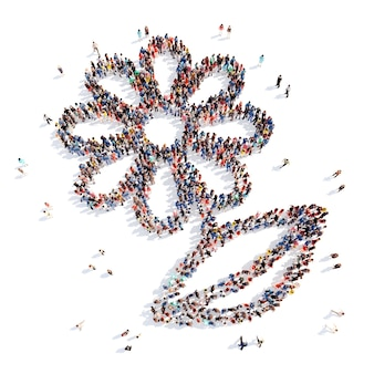 Un folto gruppo di persone a forma di fiore ed ecologia. isolato, sfondo bianco.