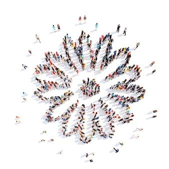 Un folto gruppo di persone a forma di fiore, pianta. isolato, sfondo bianco.