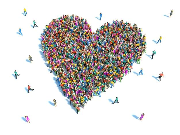 Grande gruppo di persone a forma di cuore. persone che cercano il concetto di amore