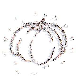 Un folto gruppo di persone a forma di zucca. isolato, sfondo bianco.