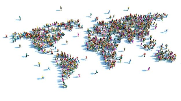 Grande gruppo di persone in piedi sotto forma di una mappa del mondo