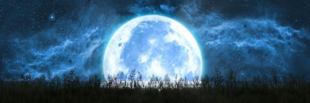 La grande luna tramonta sull'orizzonte dell'oceano e illumina l'erba sulla riva, illustrazione 3d