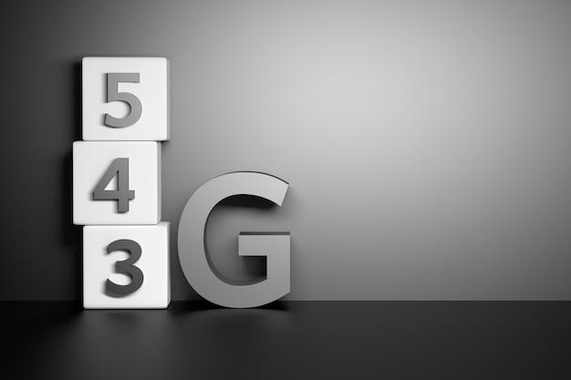 Grandi numeri 3 g 4 g 5 g in piedi su una superficie scura