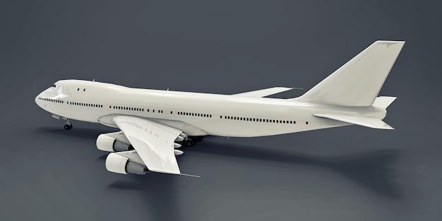 Grandi aerei passeggeri di grande capacità per lunghi voli transatlantici. aeroplano bianco su sfondo grigio isolato. illustrazione 3d.