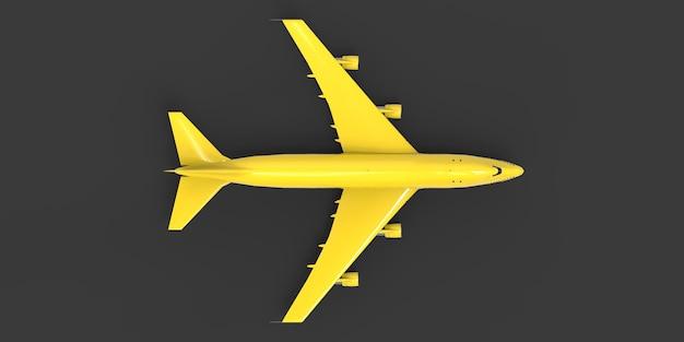 Aereo passeggeri di grandi dimensioni di grande capacità per lunghi voli transatlantici aereo giallo