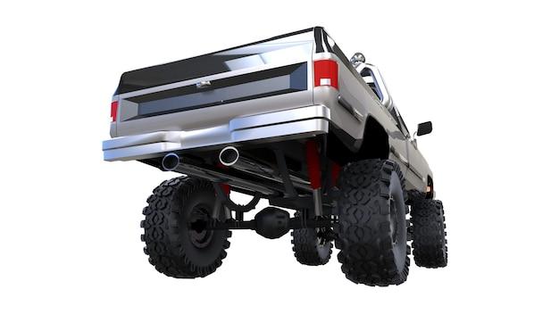 Grande camioncino fuoristrada. formazione completa. sospensioni molto rialzate. ruote enormi con punte per rocce e fango. illustrazione 3d.