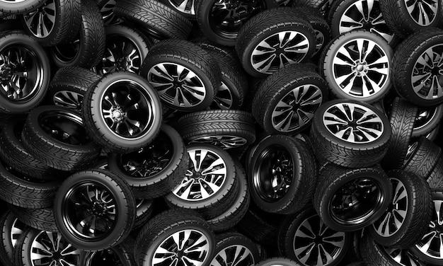 Una grande pila di ruote per auto. illustrazione di rendering 3d.