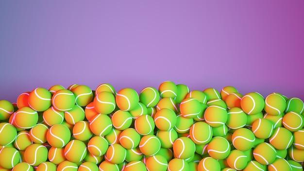 Grande mucchio di palline da tennis in luce al neon