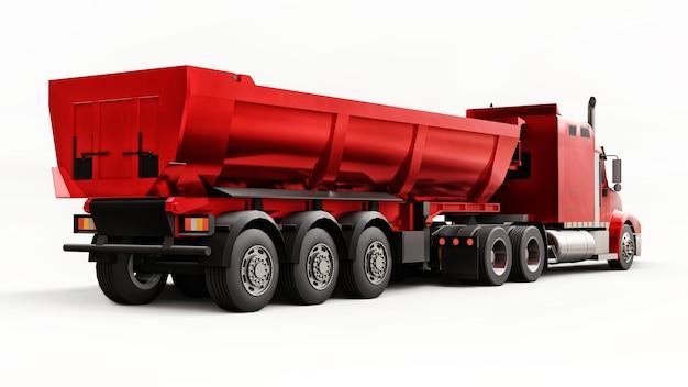 Grande camion rosso americano con un autocarro con cassone ribaltabile di tipo rimorchio per il trasporto di merci alla rinfusa su una superficie bianca