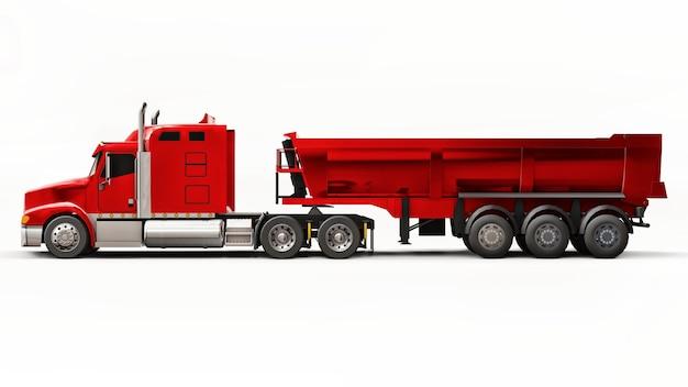 Grande camion americano rosso con un autocarro con cassone ribaltabile tipo rimorchio su sfondo bianco