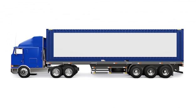 Un grande camion retrò con una parte per dormire e un'estensione aerodinamica trasporta un rimorchio con un container marittimo. sul lato del camion c'è un poster bianco vuoto per il tuo design. rendering 3d.