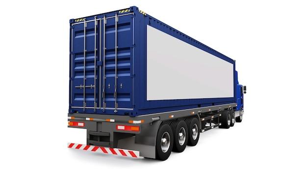 Un grande camion retrò con una parte dormiente e un'estensione aerodinamica trasporta un rimorchio con un container marittimo.