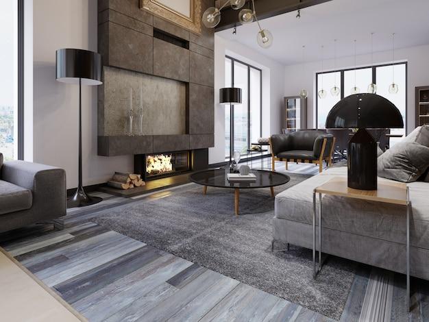 Un ampio soggiorno spazioso in stile loft, con camino e mobili imbottiti, grandi finestre panoramiche e pareti bianche. rendering 3d.