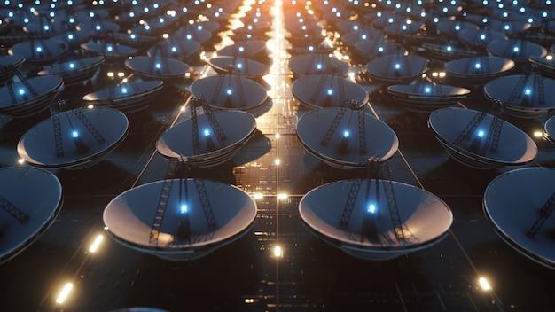 Ampia superficie tecnologica ricoperta da microcircuiti e antenne paraboliche. concetto di trasferimento delle informazioni. illustrazione 3d