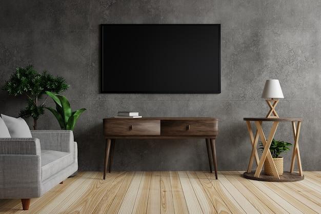 La grande tv su un muro di cemento nel soggiorno è decorata con lampade, piante e mobili su pavimento in legno. rendering 3d.