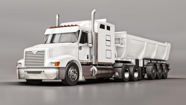 Grande camion americano bianco con un autocarro con cassone ribaltabile di tipo rimorchio per il trasporto di merci alla rinfusa su uno sfondo grigio. illustrazione 3d.