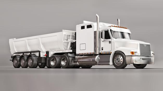 Grande camion americano bianco con un dumper tipo rimorchio per il trasporto di merci alla rinfusa su uno sfondo grigio. illustrazione 3d.