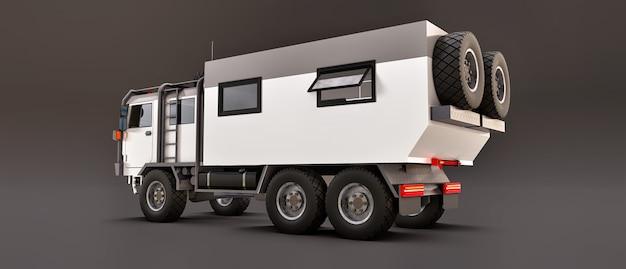 Un grosso camion bianco su uno spazio grigio, preparato per lunghe e difficili spedizioni in una zona remota. camion con una casa su ruote. illustrazioni 3d.