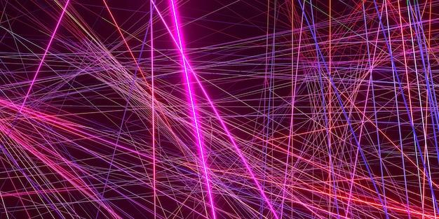 Effetto del raggio laser su un'illustrazione 3d di sfondo nero