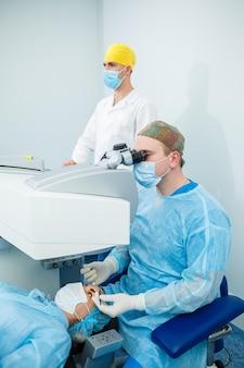 Correzione della visione laser. trattamento del glaucoma. tecnologie mediche per la chirurgia oculare.