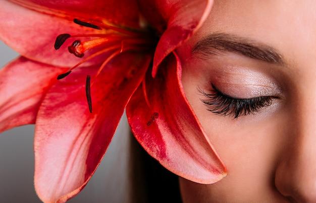 Estensione ciglia, ciglia, primo piano degli occhi di bella donna