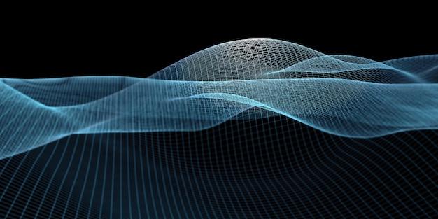 Curva di struttura reticolare linee blu su sfondo nero concetto di tecnologia geometrica distanza focale nel punto di emissione della luce, illustrazione 3d