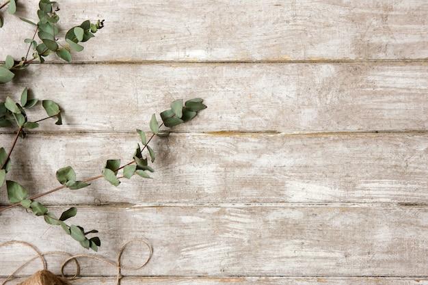 Ramo di alloro su fondo di legno piatto disteso. tavolo da laboratorio di floristica con decoro. opera d'arte decorativa dal fiore di primavera