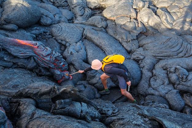 Flusso di lava sulla big island, hawaii