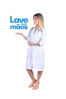Lave suas maos (wash your hands in portuguese) message against coronavirus, covid-19, 2019-ncov, sars-cov-2. minaccia di virus pandemico.