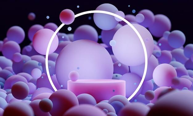 Lavanda 3d mock up podio con sfere o palline volanti con illuminazione al neon rotonda in viola e rosa. luminosa piattaforma moderna astratta contemporanea per la presentazione di prodotti o cosmetici. rendi la scena