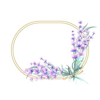 Fiori di lavanda in una cornice ovale in oro