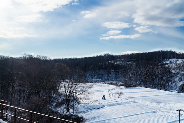 Prato coperto di neve bianca in gelido giorno d'inverno con cielo blu