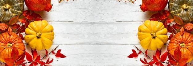 Disposizione delle zucche colorate su una vecchia tavola di legno bianca, vista dall'alto con spazio di copia al centro del telaio
