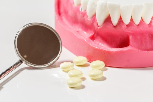 Disposizione della mascella umana, pillole e uno specchio da visita in metallo. layout per dimostrare la mascella agli studenti di odontoiatria.