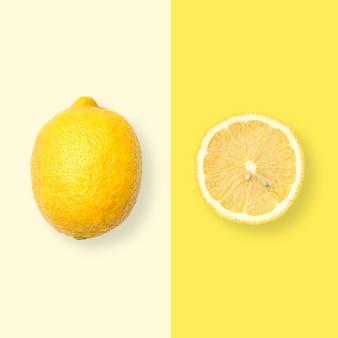 Layout di limone. concetto di cibo creativo. lay piatto