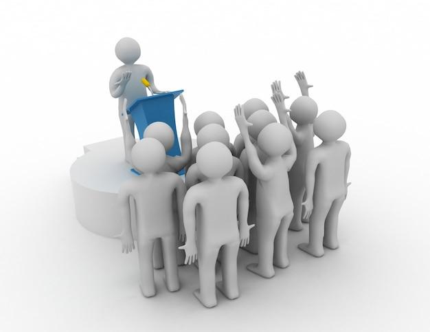 Leader che parla al pubblico. concetto di leader 3d