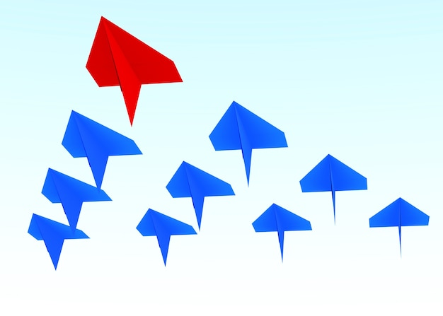 Concetto di leadership. un piano guida rosso guida gli altri aerei blu in avanti