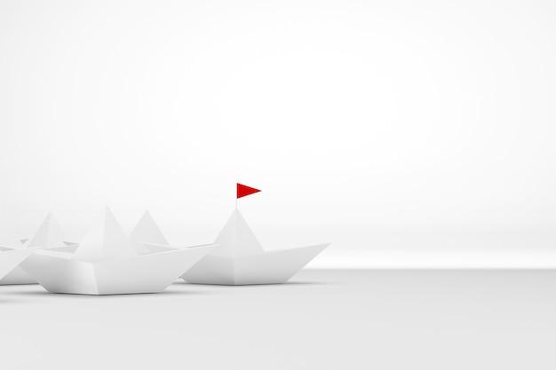 Concetto di direzione. nave di carta con bandiera rossa che conduce tra il bianco su sfondo bianco. illustrazione 3d