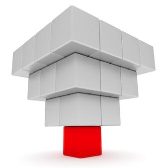 Concetto di leadership. piramide da blocchi rossi e bianchi