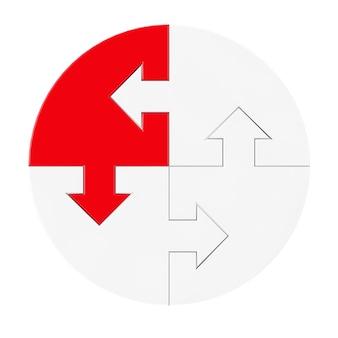 Concetto di direzione. pezzi di un puzzle bianco con frecce e uno rosso su sfondo bianco. rendering 3d