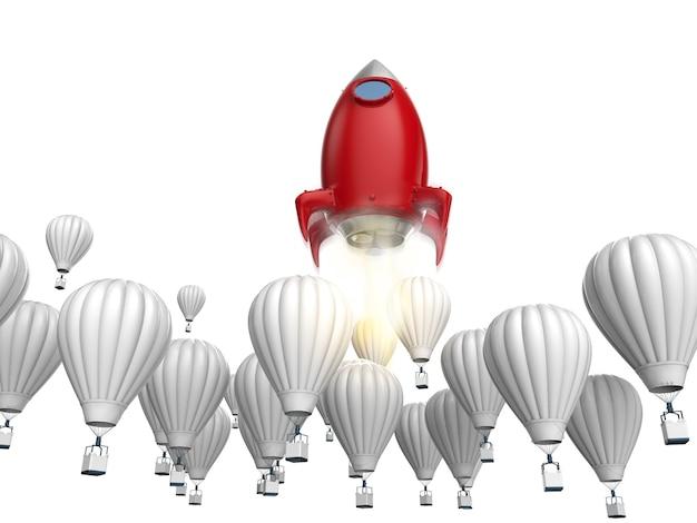 Concetto di direzione con il razzo rosso della rappresentazione 3d sopra i palloni ad aria calda blu