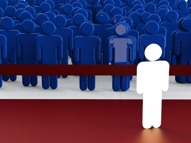 Concetto di leadership con uomo incandescente di fronte alla folla