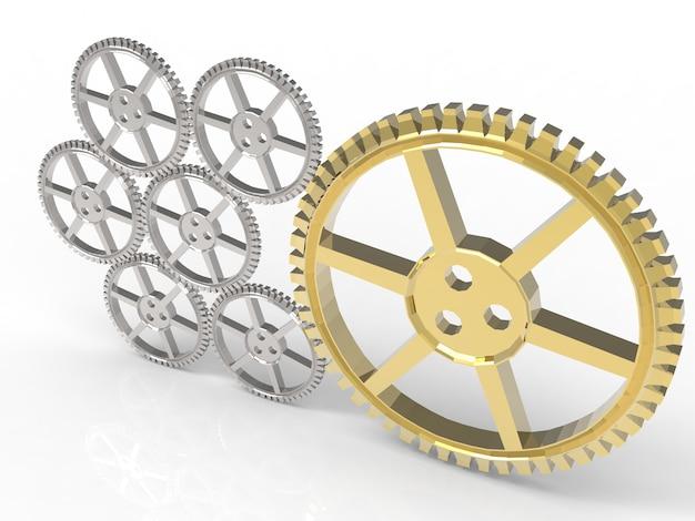 Concetto di leadership con ingranaggi d'oro e ingranaggi d'argento