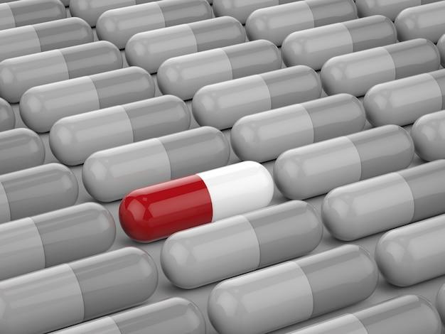 Concetto di leadership con capsula rossa tra capsule grigie