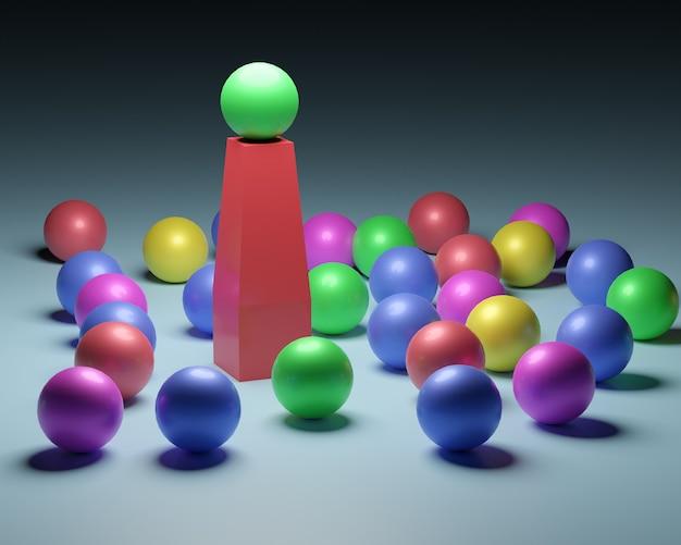 Comando. immagine concettuale di un leader e dei subordinati. palloncini colorati.