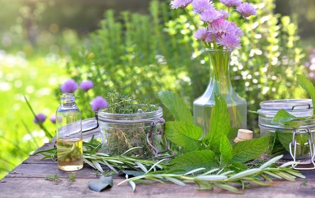 Foglia di pianta aromatica con vaso di vetro e olio in una bottiglia disposta su un tavolo in un giardino