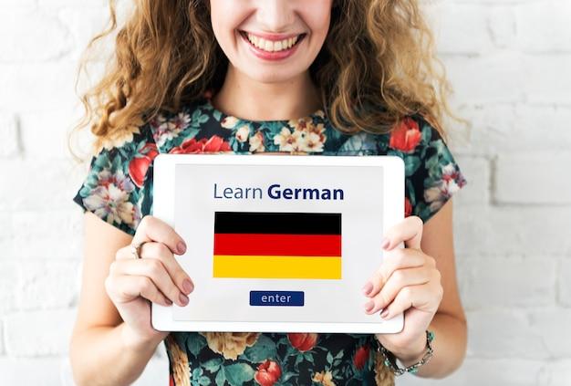 Impara il concetto di educazione online della lingua tedesca